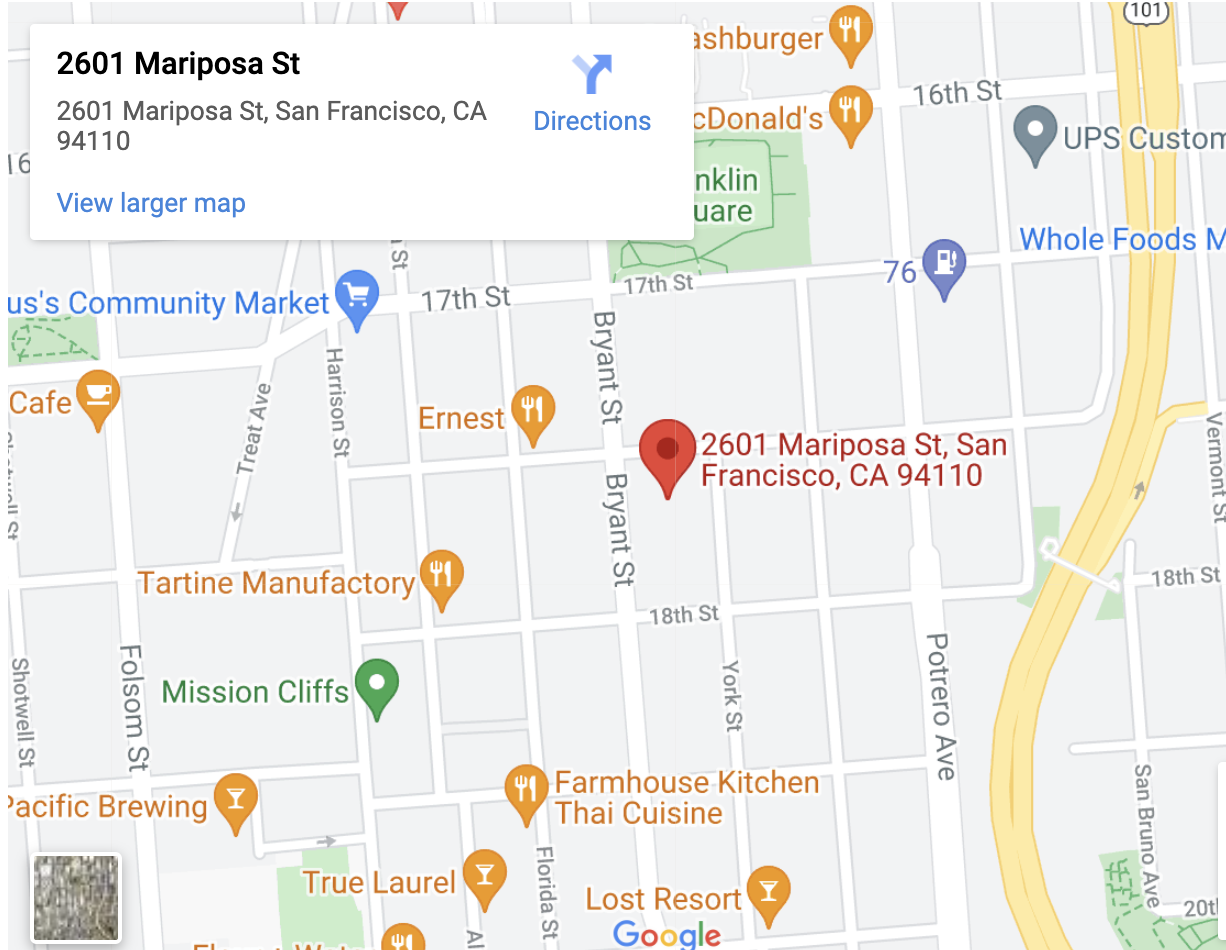 Google Map of 2601 Mariposa Street with link to directions