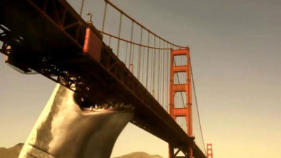 mega shark biting golden gate bridge