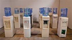'The Office' at San Jose Institute of Contemporary Art-Ian Treasure, Water Coolers of the World Unite (detail).