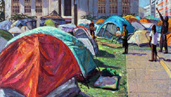 'Occupy: The Plein Air Story' at Oakland's Joyce Gordon Gallery-Anthony Holdsworth, Occupy Oakland #1, 2011.