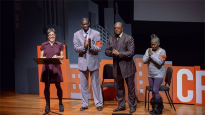 "Solitary Reflections: Notes on the Prison System from the Creative Time Summit-Annenberg Prize winner Laurie Jo Reynolds with Darrell Cannon, Reginald ""Akkeem"" Berry, Sr., and Brenda Townsend; photo by Casey Kelbaugh, courtesy Creative Time"