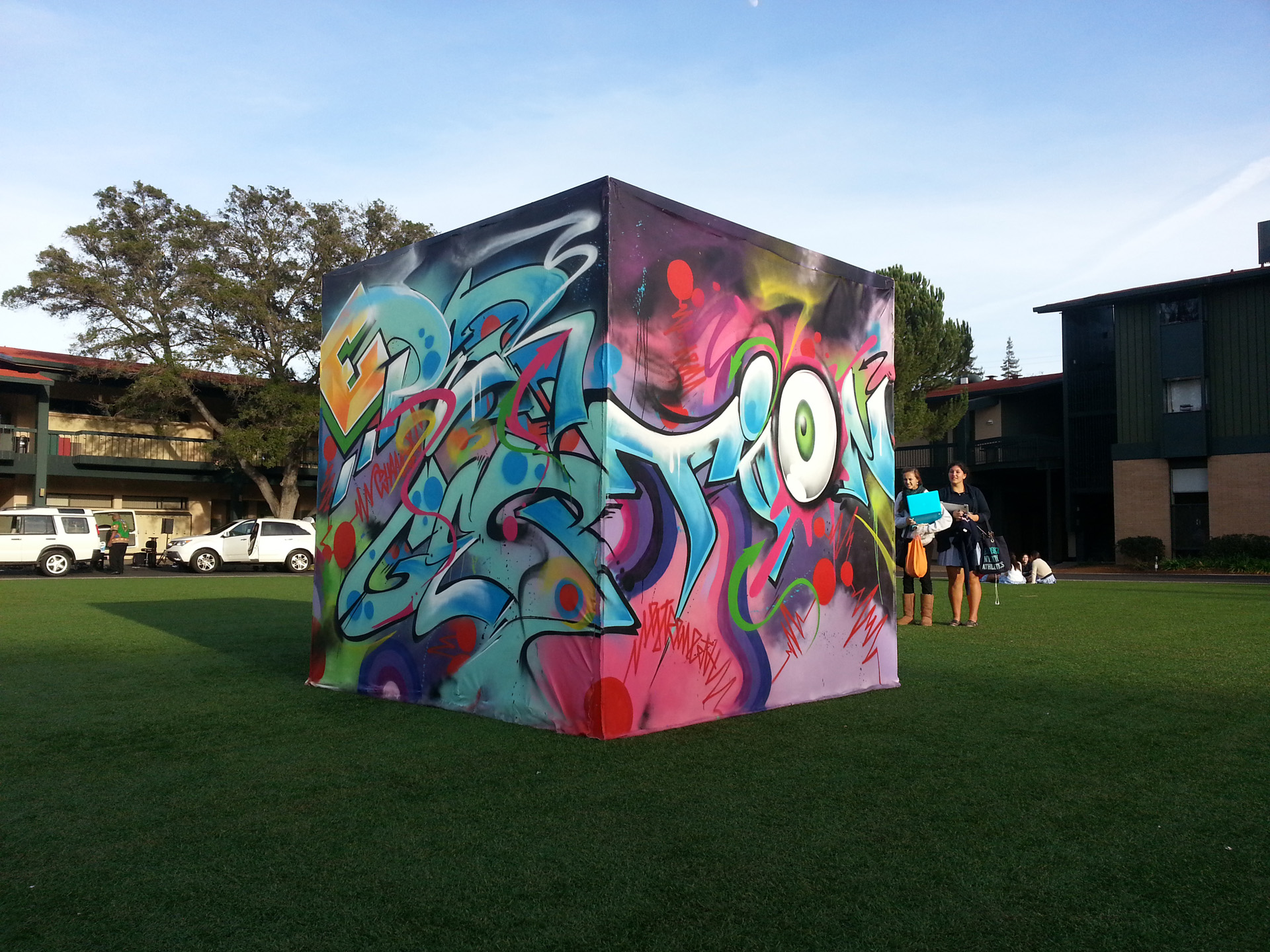 "Students at Castilleja School, in San Jose, created ""The Perception, Expression Cube"" during a week-long collaboration with Scape Martinez and MMAP."
