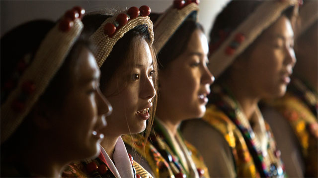 "Girls at the Tibetan Community Center in Richmond, California, practice a song called ""Galway Tenshu,"" which is performed only for the Dalai Lama. They will sing it for him when he visits Berkeley on February 23."