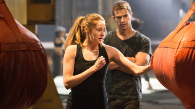 Tris (Shailene Woodley) and Four (Theo James) train hard as part of the warrior faction Dauntless in Divergent, based on the novel by Veronica Roth.