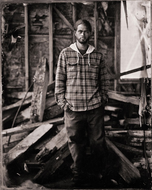 A tintype of Jesse, one of the apprentices at The Garden Project, a program that teaches at-risk youth organic farming and landscaping -- and helps feed thousands of needy San Franciscans.