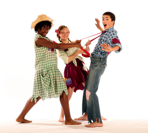 Tory Carter (left) and Angie Pohl help Teddy Northrop get a grip in the SFArtsED Players production of Li'l Abner
