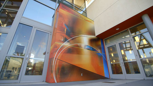 In recent years Scape's work has evolved into large-scale pieces of abstract expressionism, like those seen on the exterior and interior walls at Roosevelt Community Center, a public art project commissioned by the City of San Jose.