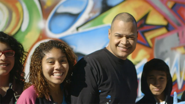 Scape Martinez with students from his Graffiti Art Workshop