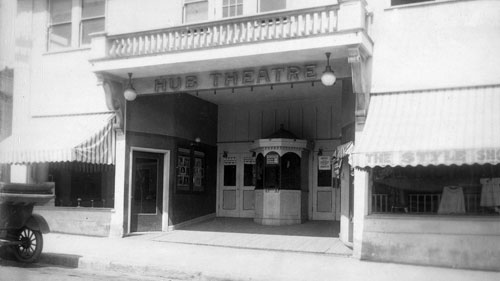 The Throckmorton, originally called the Hub Theatre, is 100 years old this year. On March 29, the historic building celebrates its centenary with a star-studded bash, which will also mark the tenth anniversary of it's reopening as a community theater. Photo courtesy of Lucretia Little History Room, Mill Valley Public Library.