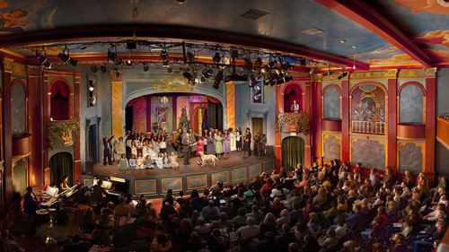 The Throckmorton's intimate scale and Beaux-Arts decor help create the warm ambience that makes it a community favorite. The interior is shown here during a youth-theater production of Annie; Photo courtesy of William Binzin
