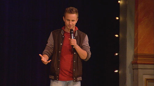"Comedian Cody Woods at a recent show. ""The younger comics kind of get to hang out with people like Bobby Slayton and Robin Williams, as if you came up together,"" says Woods, who appreciates ""the Throck's"" support of rising talents. ""So you get to talk shop with legends, and you feel a little more connected."""