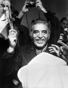 Colombian writer Gabriel Garcia Marquez, literature Nobel prize arrives, on December 7, 1982, at the airport in Stockholm.