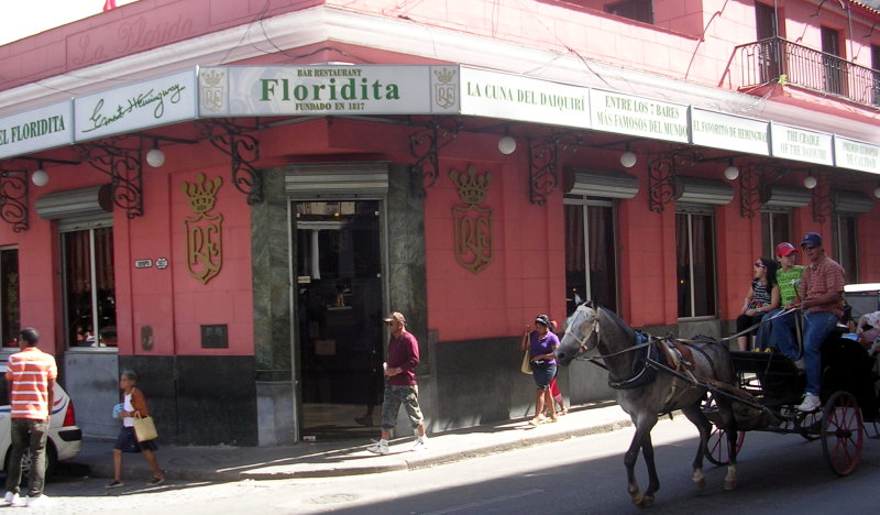 Exterior view of the bar and restaurante Floridita, La Habana, Cuba. Courtesy of WikiMedia Commons