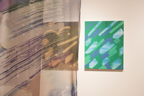 Andrea Bergart, <i>Soft Hook Shot</i> (foreground), <i>Seascape</i> (left), <i>Mountain Lake</i> (right); courtesy City Limits