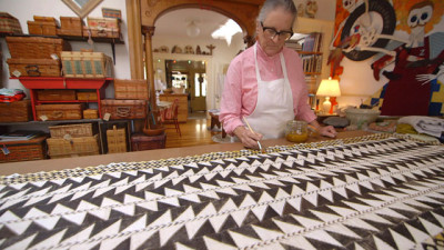 Wendeanne Ke`aka Stitt moves the Kapa tradition forward by applying her experience as a master quilter to the art of Kapa making, piecing the cloth into designs such as this one.