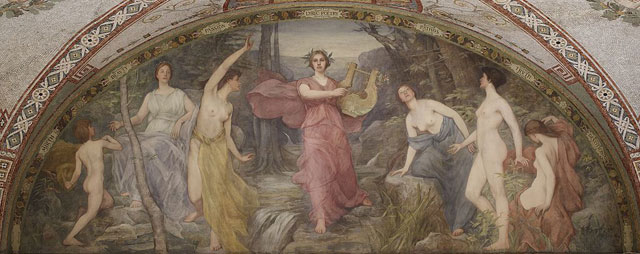 Henry Oliver Walker, Lyric Poetry 1896; Mural, South Corridor, Great Hall, Library of Congress Thomas Jefferson Building; Photo by Carol Highsmith, 2007