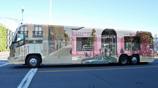 Elinor Diamond's winning design for Mission Local's unofficial contest to bedazzle tech buses;