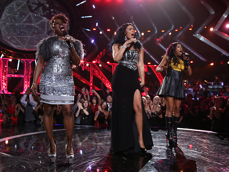 "(L-R) Singers Ledisi, Jordin Sparks and Melanie Fiona perform onstage during ""VH1 Divas"" 2012 at The Shrine Auditorium on December 16, 2012 in Los Angeles, California."