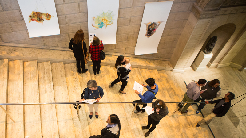 Overhead view of Re:depiction installation; Courtesy of the Asian Art Museum