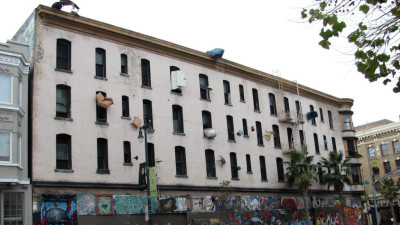 One side of the Hugo Hotel featuring Defenestration