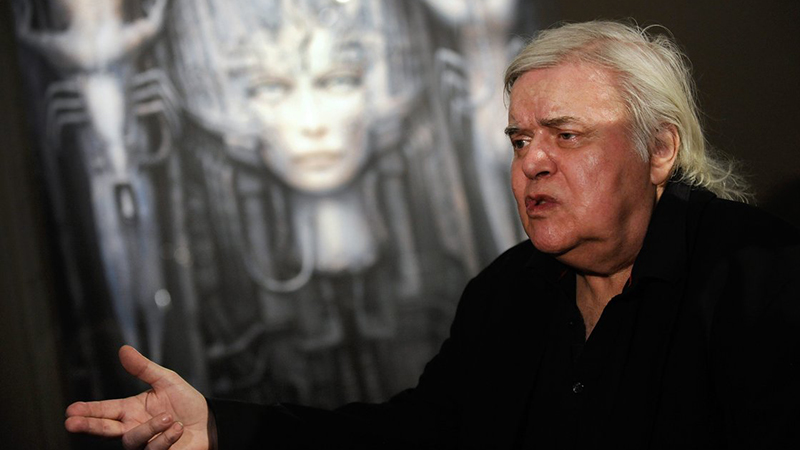 """Swiss artist H.R. Giger, seen here at his """"Dreams and Visions"""" exhibition in 2011, died Monday after a fall in Zurich. Giger's work includes designs for the 1979 film Alien."""