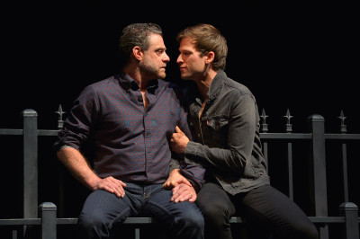 Lou Liberatore (Pill) and Jordan Geiger (Eli) in The Intelligent Homosexual's Guide to Capitalism and Socialism with a Key to the Scriptures at Berkeley Repertory Theatre.