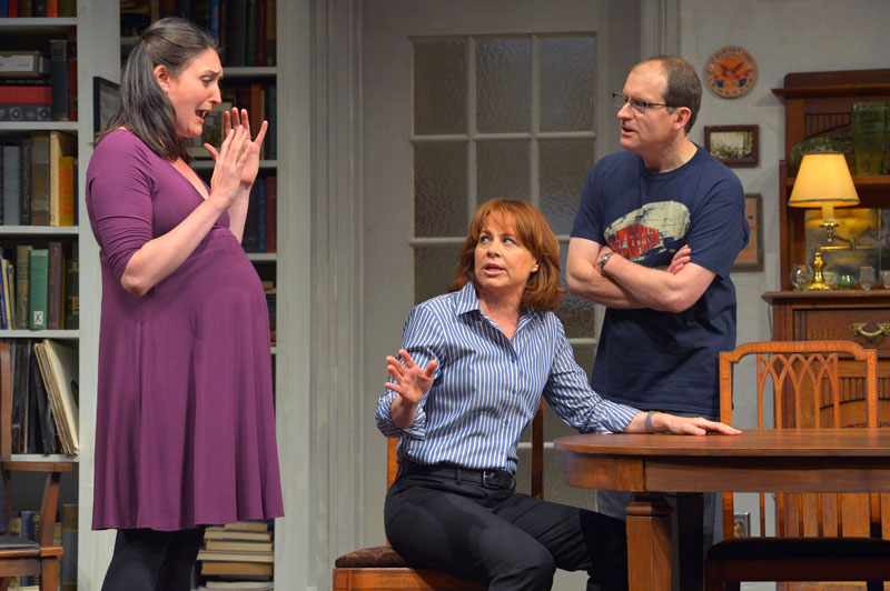 Liz Wisan (Maeve), Deirdre Lovejoy (Empty) and Anthony Fusco (Adam) in The Intelligent Homosexual's Guide to Capitalism and Socialism with a Key to the Scriptures  at Berkeley Rep.