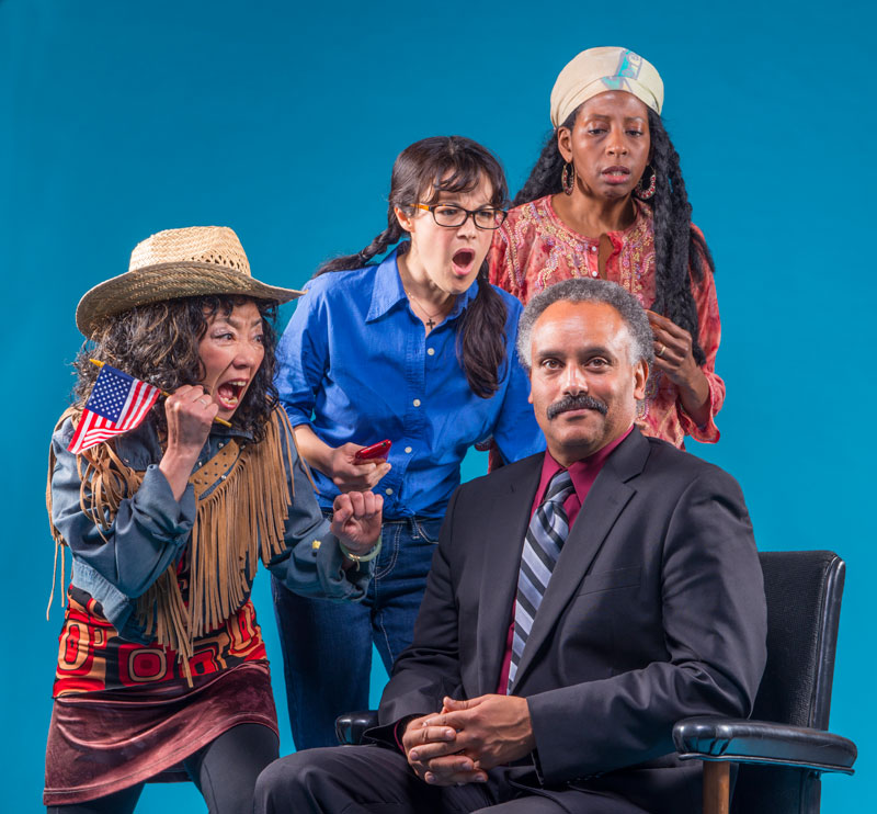 Michael Gene Sullivan, Keiko Shimosato Carreiro, Lisa Hori-Garcia and Velina Brown in the San Francisco Mime Troupe's Ripple Effect; photo: DavidAllenStudio.com
