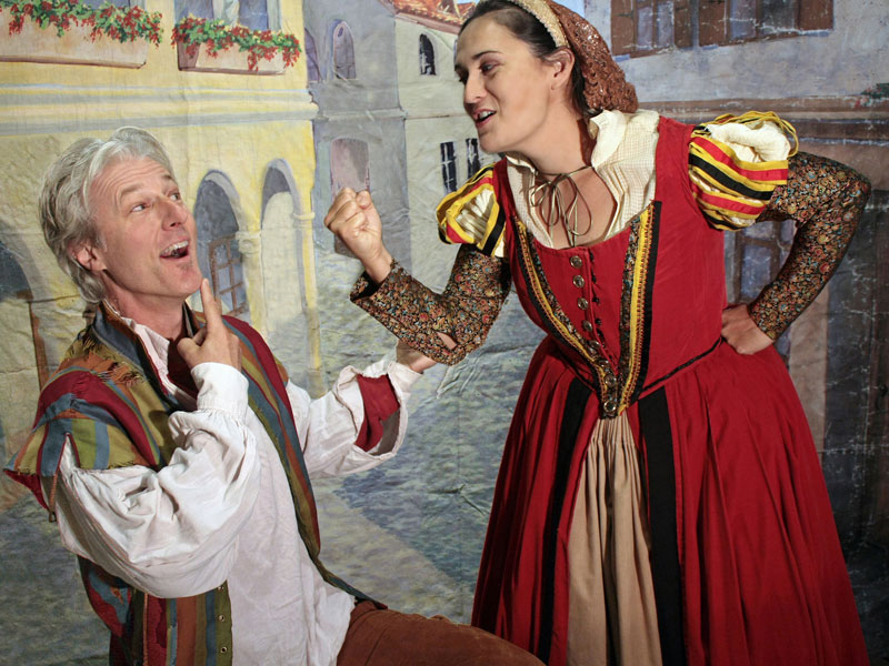 Tim Kniffin as Petruchio and Carla Pantoja as Katerina in the San Francisco Shakespeare Festival's Free Shakespeare in the Park production of The Taming of the Shrew; photo: John Western.
