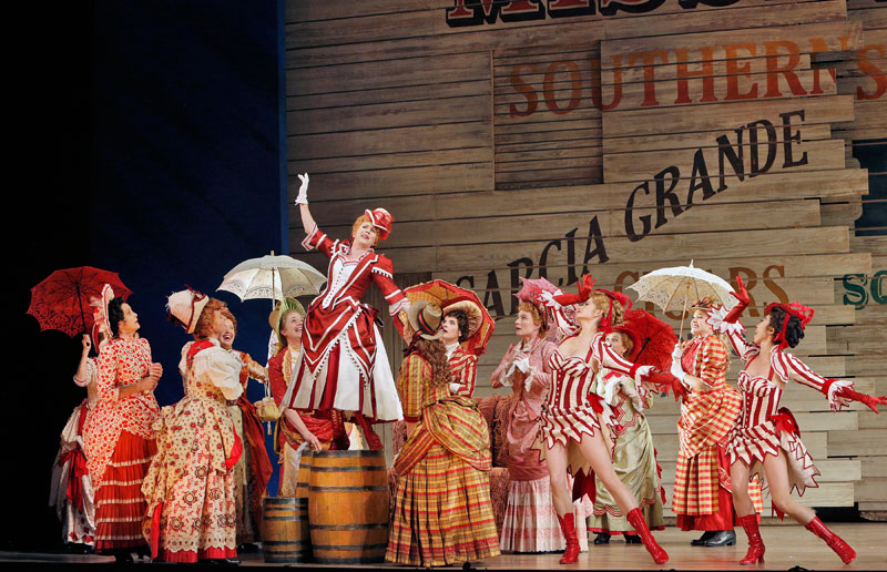 Kirsten Wyatt as Ellie Mae Chipley with chorus and dancers  in San Francisco Opera's Show Boat.