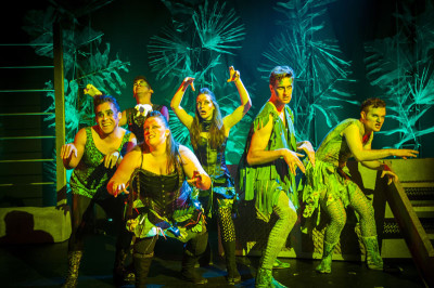 Alex Rodriguez, Javi Harnly, Monica Turner, Chelsea Holifield, David Naughton and Lewis Rawlinson in Triassic Parq: The Musical.