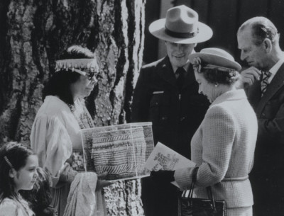 Michael Dixon, Julia Parker Presenting Basket to Queen Elizabeth II, 1983; courtesy the Yosemite National Park Archives, Museum, and Library.