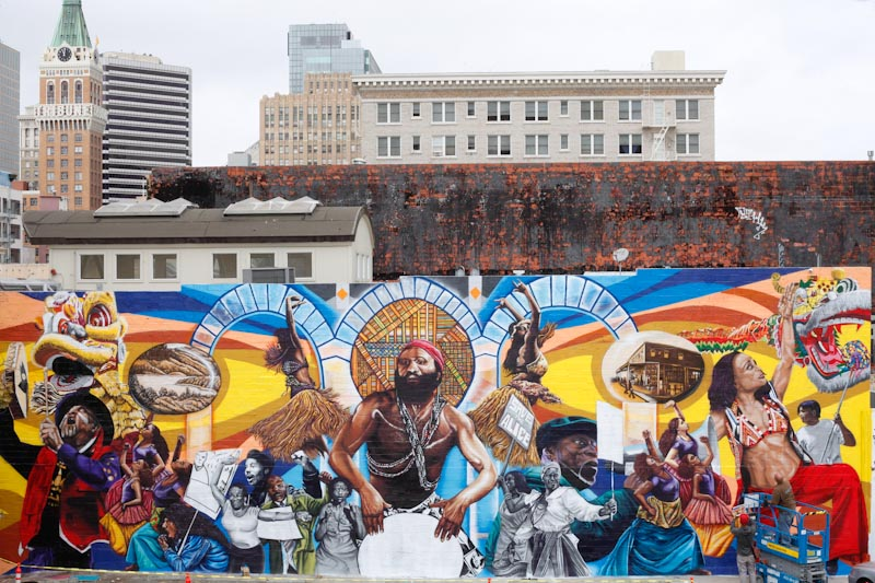 "The ""Universal Language"" mural on Alice Street in downtown Oakland in 2014."