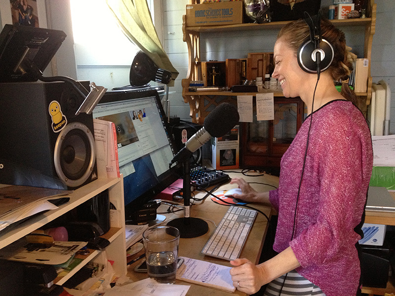 "Kiki Sanford records her ""This Week in Science"" podcast from her basement in San Francisco's Bernal Heights neighborhood, and funds it via Patreon."