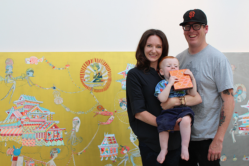 Artist duo KEFE -- Kelly Tunstall,  Ferris Plock and their child