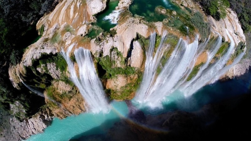 The Tamul waterfall in San Luis Potosí, Mexico, is seen in this image taken with the help of a drone aircraft. The water reportedly falls more than 340 feet