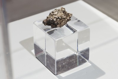 <i>The Sacred Body of the Angel of Prehistory</i>, 4,500,00 B.C.; meteorite fragment. Collection of the Museum of Russian History. Photo by Phillip Maisel. Courtesy Kadist Art Foundation.