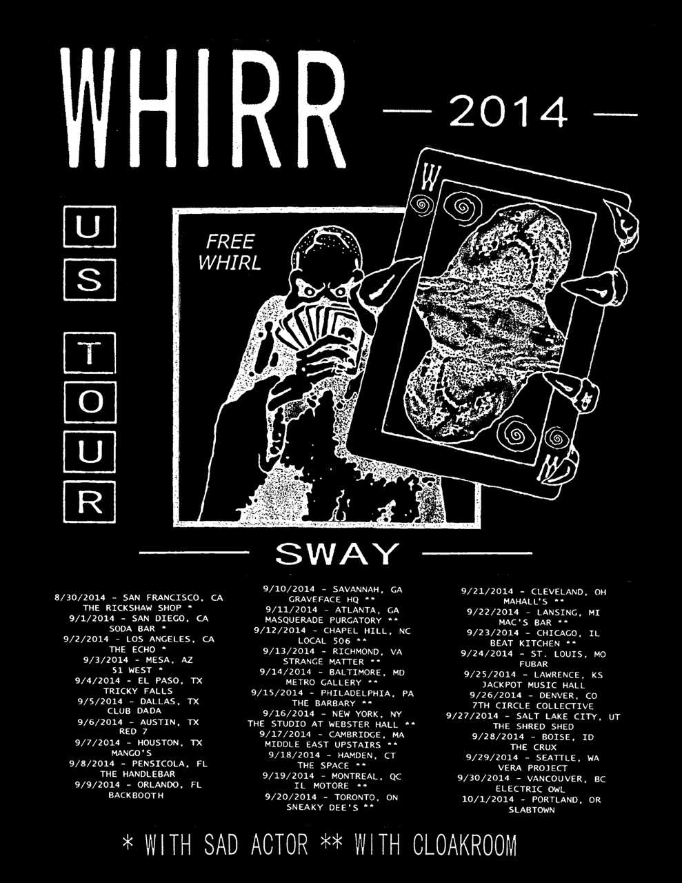 Whirr tour poster.  Taken from artist's website.