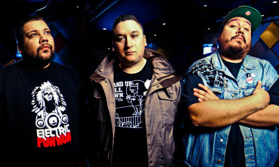 DJ NDN, 2oolMan, and Bear Witness are a Tribe Called Red; Photo courtesy of Athena Anastasiou