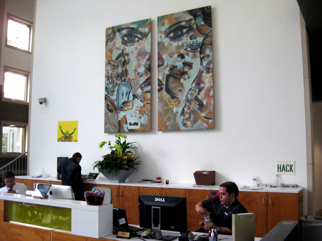 Facebook HQ Reception Area, featuring work by David Choe