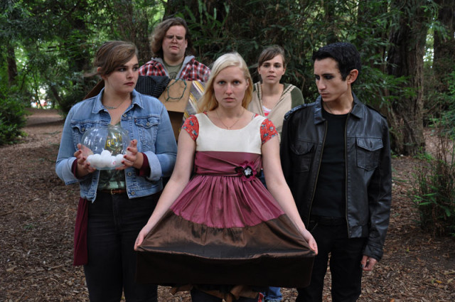 Miranda Lickey, Drew Wolff, Juliana Lustenader, Nicolina Akraboff and Tim Garcia in Millicent Scowlworthy.