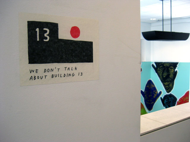 Site-specific artwork details: Facebook's Artist in Residence Program featuring works by Tucker Nichols (left) and Rich Jacobs (right). Nichol's work references an insider joke, held over from when the same site housed Sun Microsystems -- there is no building 13.