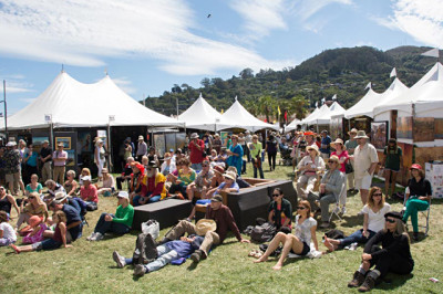 3. Crowds gather in Marinship Park for the Sausalito Art Festival.