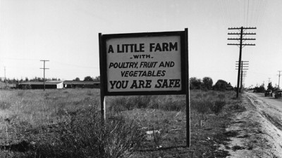 Dorothea Lange, Real Estate Sign, Riverside County, California (detail), 1937.