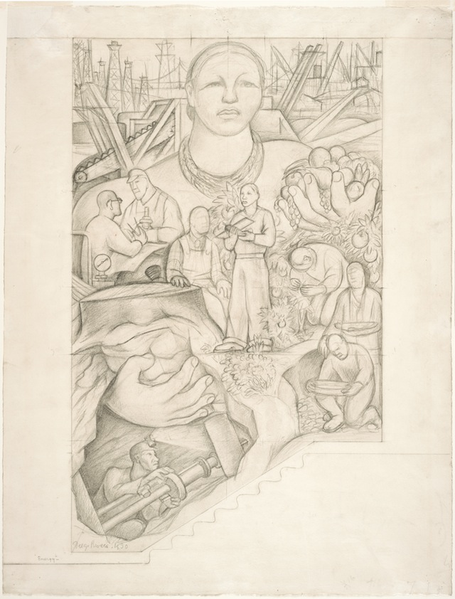 Diego Rivera, <i>Energy, study for the main wall of the mural Allegory of California, Pacific Stock Exchange Luncheon Club, San Francisco</i>, 1930; graphite on paper; 25 x 19 in. Courtesy San Francisco Museum of Modern Art. © Banco de Mexico Diego Rivera & Frida Kahlo Museums Trust. Photo: Don Ross.