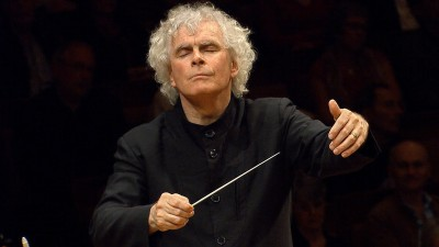 Screen shot of YouTube video of Sir Simon Rattle directing the Berlin Philharmoic