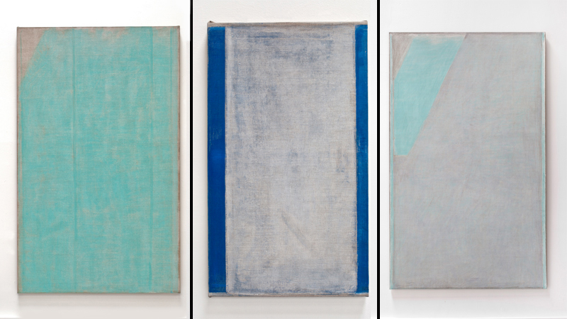 John Zurier. Votilækur, 2014; distemper on linen; 72 x 44 in. Courtesy of the artist and Lawrence Markey Gallery, San Antonio. Cold July, 2014; distemper on linen; 25 5/8 x 16 1/2 in. Courtesy of Peter Blum Gallery, New York. Finnbogi, 2014; distemper on linen; 72 x 44 in. Courtesy of the artist and Gallery Paule Anglim, San Francisco.