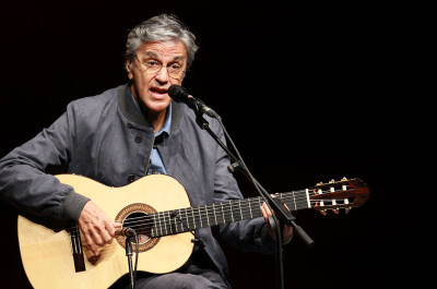 Brazilian musician Caetano Veloso performs in the sidelines of the Rio+20 environmental summit on June 13, 2012 at the Fort of Copacabana in Rio de Janeiro, Brazil; ARI VERSIANI/AFP/GettyImages