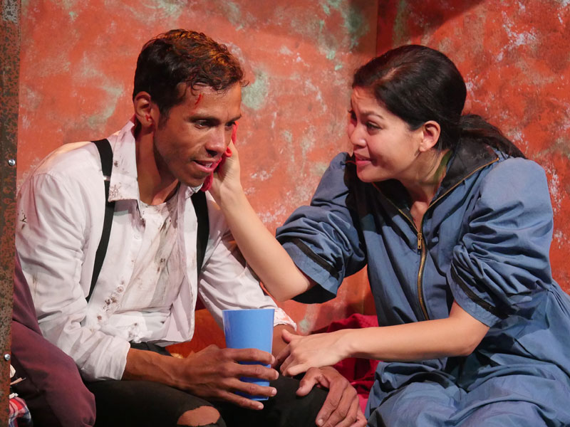Aleph Ayin and Rinabeth Apostol in TheatreFIRST's world premiere of Fire Work .