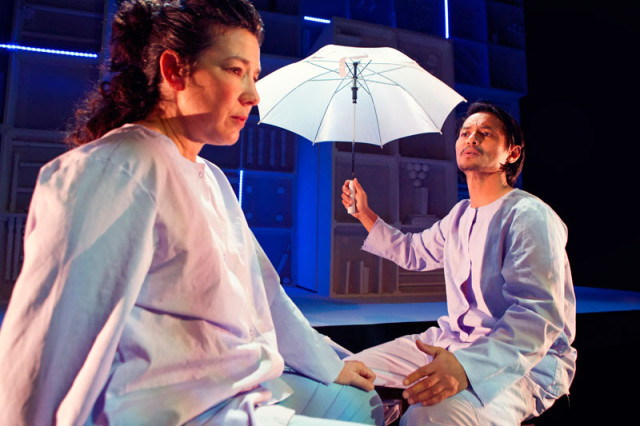 Michele Leavy and Ogie Zulueta in Crowded Fire Theater's world premiere of The Late Wedding.
